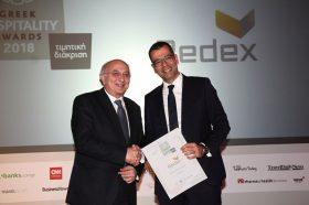 Τιμητική βράβευση Best Greek Hotel Developer: REDEX S.A. Την βράβευση έκανε ο κ. Ιωάννης Αμανατίδης, Υφυπουργός Εξωτερικών στον κ. Κωνσταντίνο Τερζητάνο, Διευθύνων Σύμβουλο.
