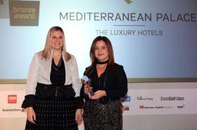 Κατηγορία Best Greek Business City Hotel_ BRONZE AWARD: MEDITERRANEAN PALACE. Την βράβευση έκανε η  κα Ευριδίκη Κουρνέτα, Γενική Γραμματέας Τουρισμού στην κα Αικατερίνη Δεδέογλου, Διευθύνουσα Σύμβουλο, The Luxury Hotels.