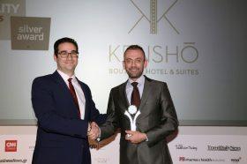 Κατηγορία Best Greek Design Resort_ GOLD AWARD: Kenshō Boutique Hotel & Suites. Την βράβευση έκανε ο κ. Ιωάννης Δημόπουλος, Διευθύνων Σύμβουλος του Ekdromi.gr, στoν κ. Κλεόβουλο Δεληγιάννη, Operations Manager.