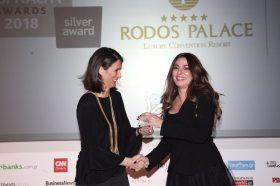 Κατηγορία Best Greek Hotel WebSite _SILVER  AWARD: RODOS PALACE. To βραβείο παρέλαβε η κα Αρτεμις Καλατζάκου, Sales Manager, Αthens Office.