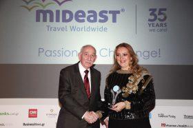 Κατηγορία Best Tour Operator_SILVER AWARD: MIDEAST TRAVEL. To βραβείο παρέλαβε η κα Κατερίνα Μούσμπε, Managing Director.