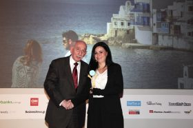 Κατηγορία Best Cruise Company_GOLD AWARD: Celestyal Cruises. To βραβείο παρέλαβε η κα  Δήμητρα Βλάχου, Marketing Manager.
